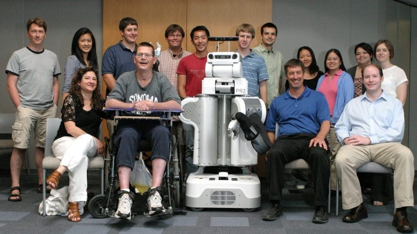 Image: Group photo of Robots for Humanity group members taken in 2011